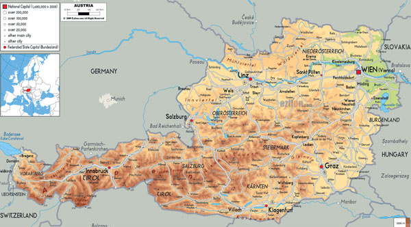 Large detailed physical map of Austria with all cities, roads and airports.