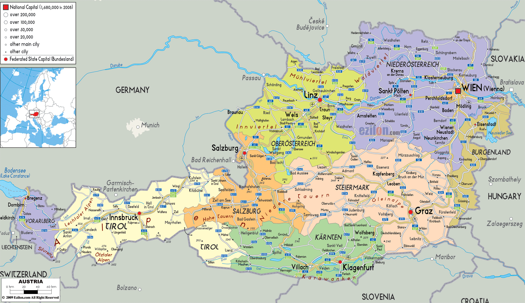 Large detailed political and administrative map of Austria with all