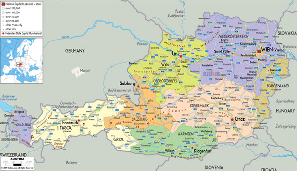 Large detailed political and administrative map of Austria with all cities, roads and airports.