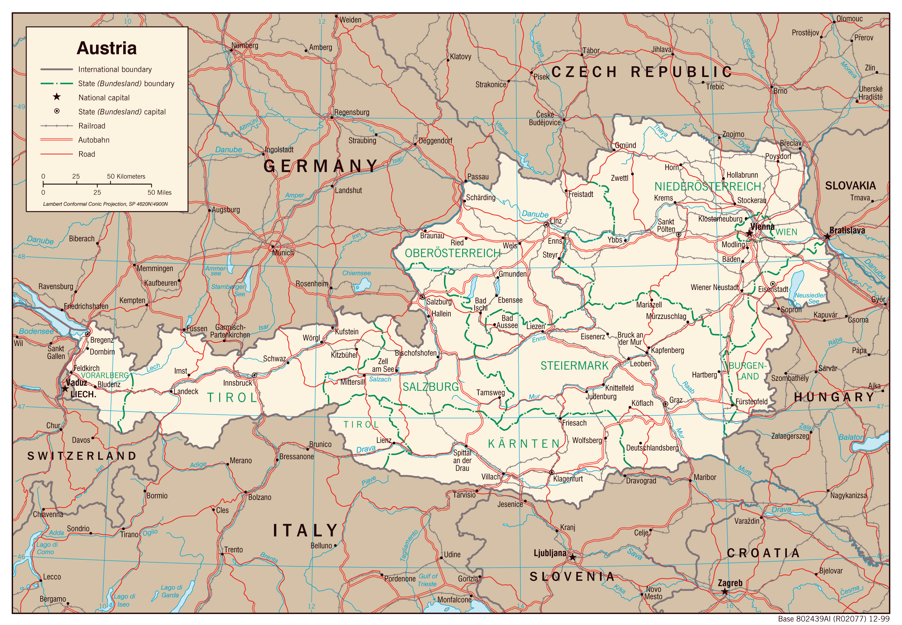 Large Detailed Political And Administrative Map Of Austria With - Austria major cities map