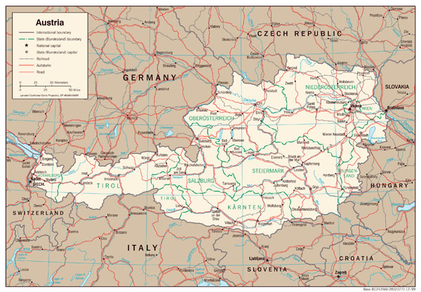 Large detailed political and administrative map of Austria with highways and major cities.
