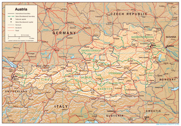 Large detailed political and administrative map of Austria with relief, highways and major cities.