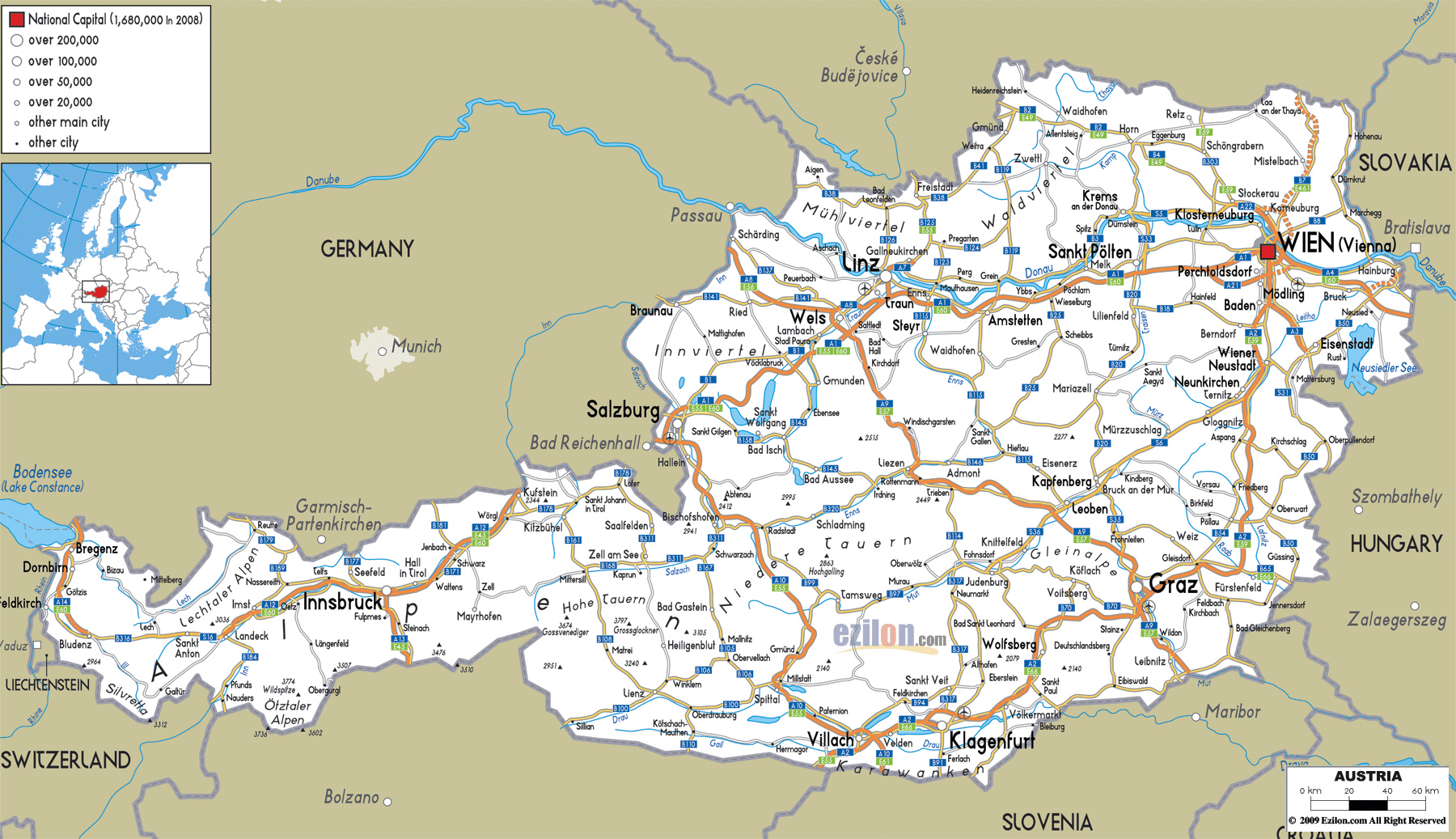 map of austria with cities Large Detailed Roads Map Of Austria With All Cities And Airports map of austria with cities