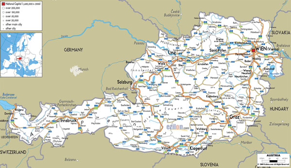 Large detailed roads map of Austria with all cities and airports.