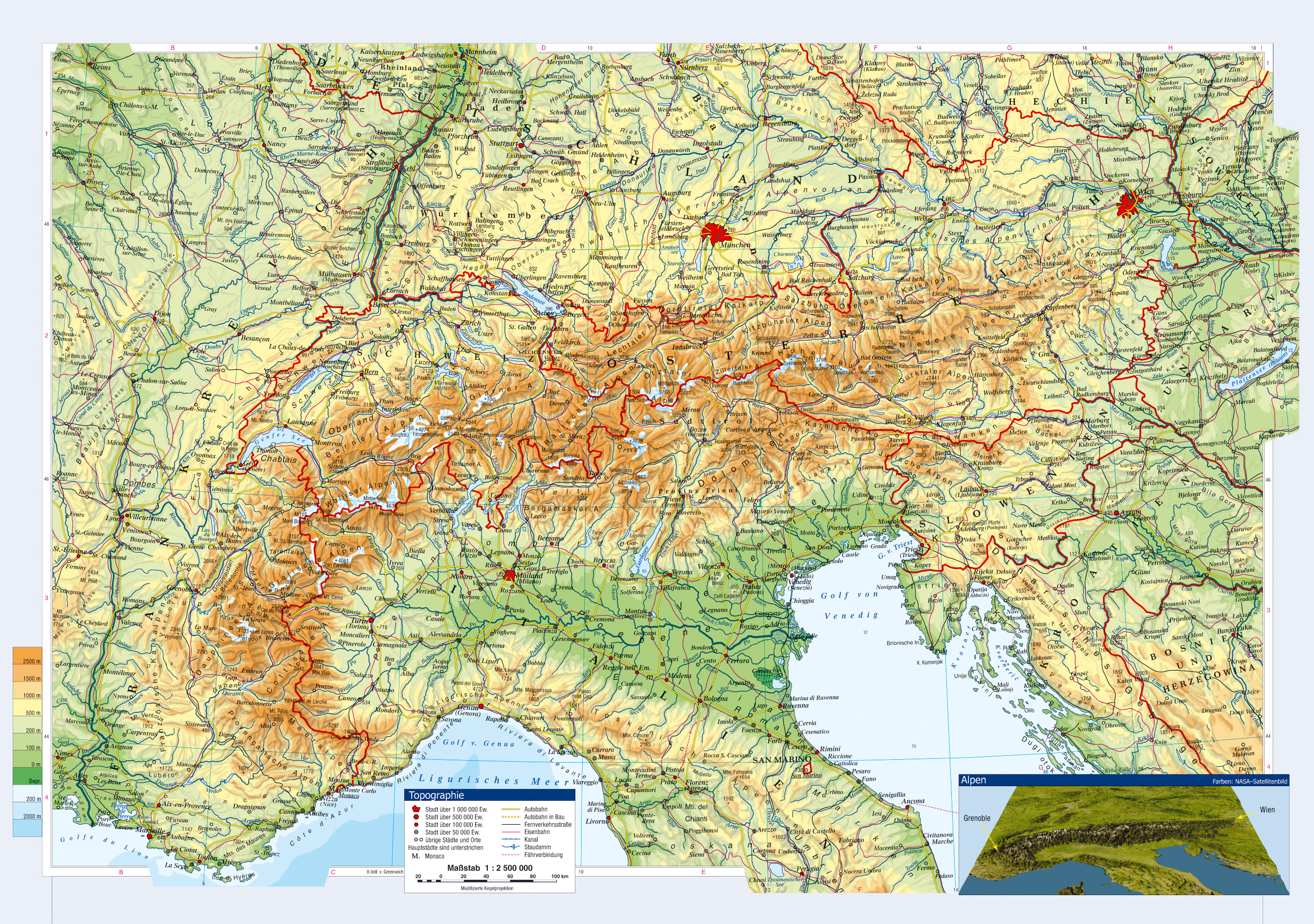 Large topographical map of Austria and neighboring countries with cities and