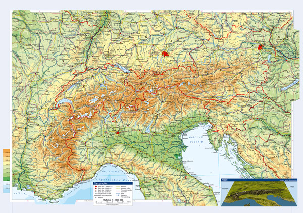 Large topographical map of Austria and neighboring countries with cities and roads.
