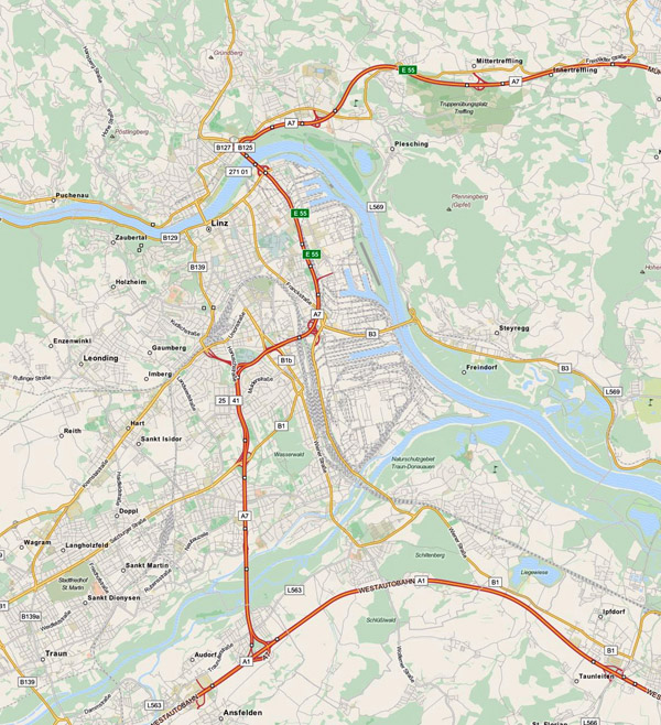 Detailed road map of Linz city. Linz city detailed road map.