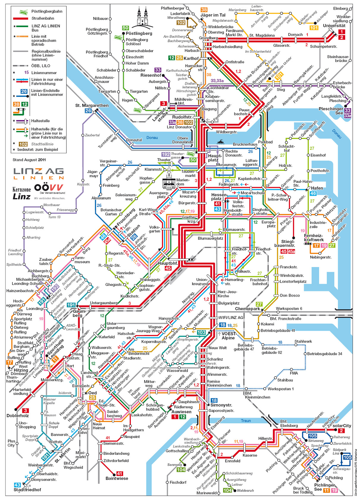 Large detailed public transportation map of Linz city Vidianicom