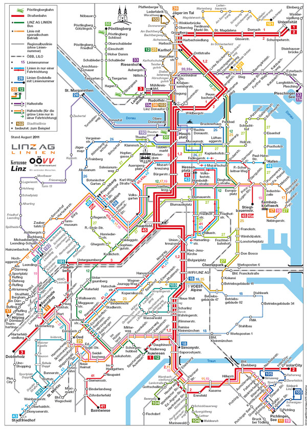 Large detailed public transportation map of Linz city.