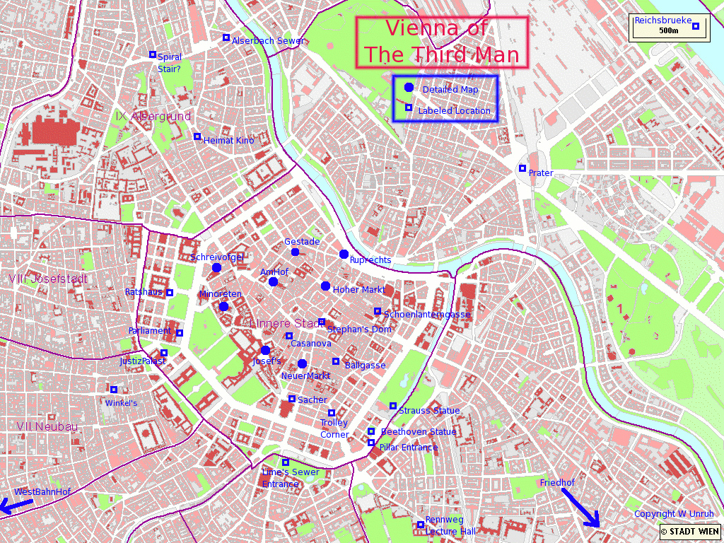 Map of the central part of Vienna Map central part of Vienna city