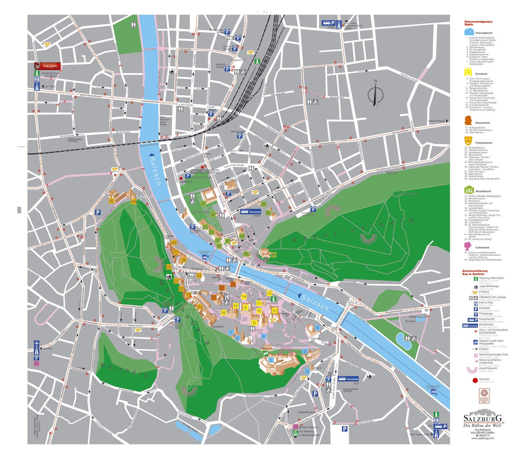 Large detailed tourist map of Salzburg city. Salzburg city