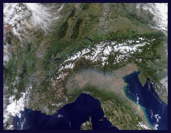 Satellite map (image, photo) of Alps. Alps satellite photo (image, map).