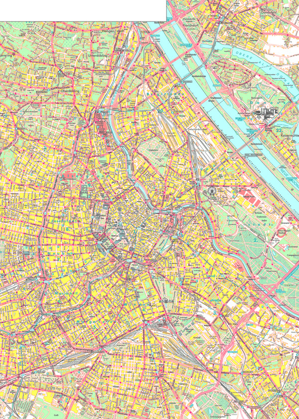 Large detailed map of Vienna city.