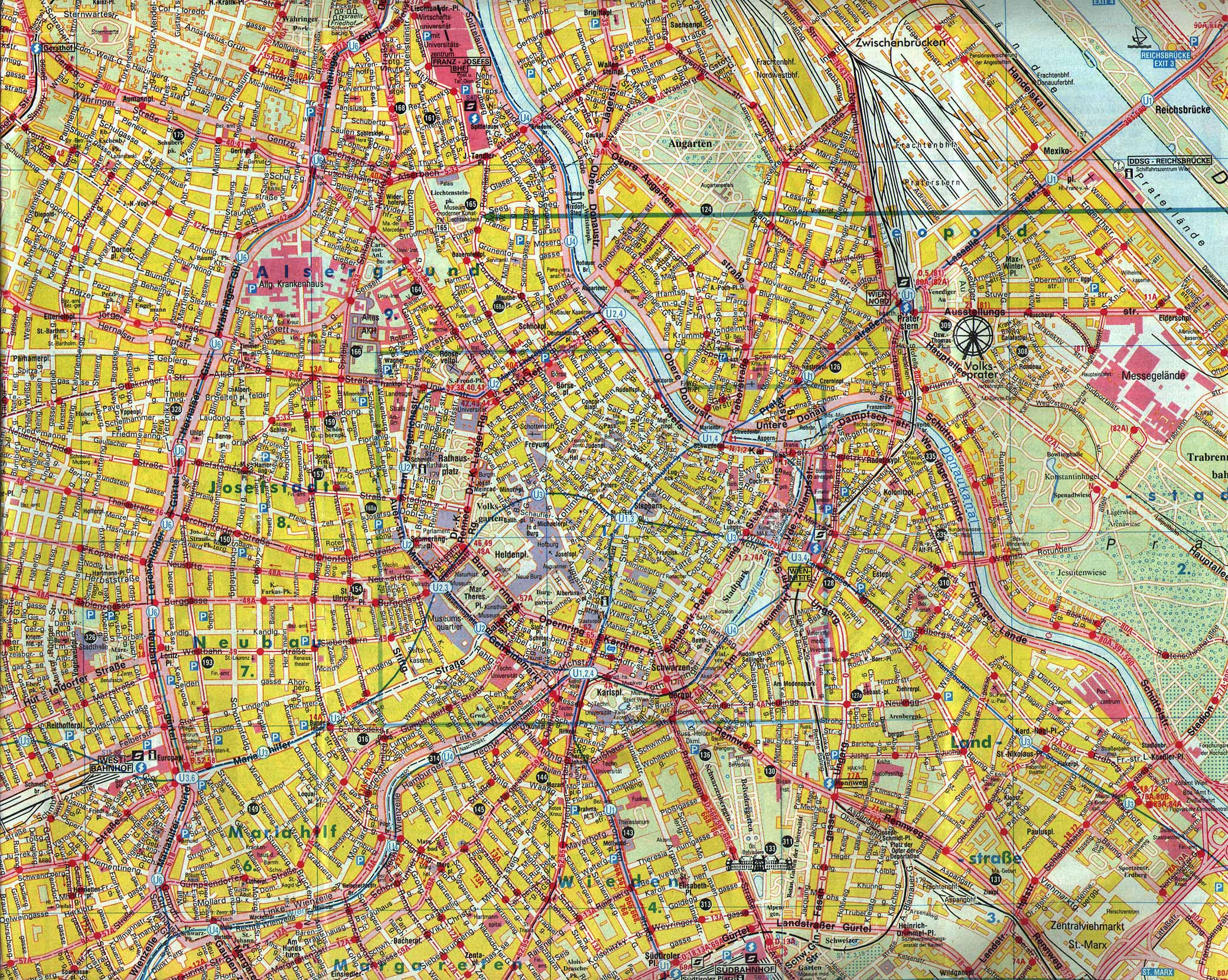 Large detailed map of center Vienna city Center Vienna city large