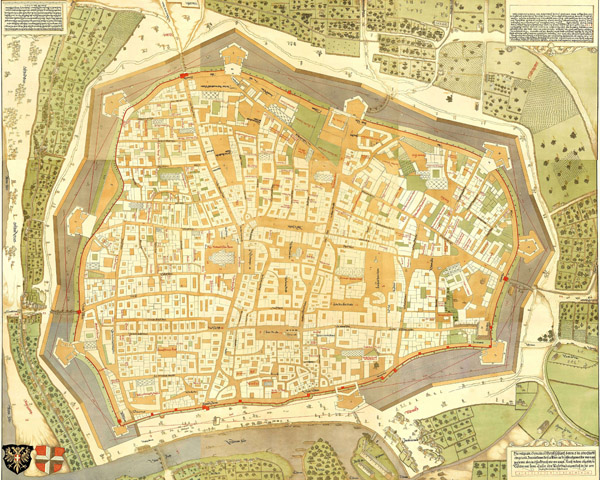 Large detailed old map of Vienna city 1547.