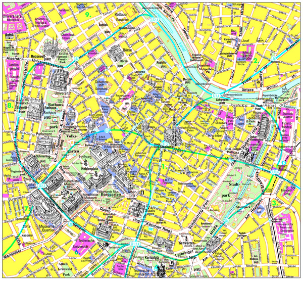 Large detailed tourist map of center Vienna city.