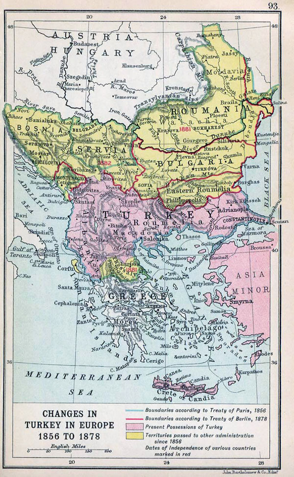 Detailed old map of Balkans with relief - 1912.