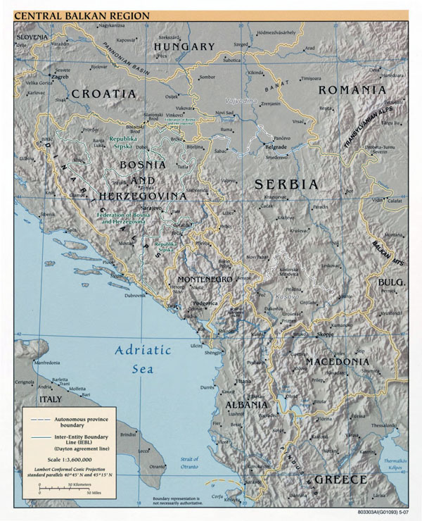 Central Balkan Region large detailed political map with relief and major cities - 2007.