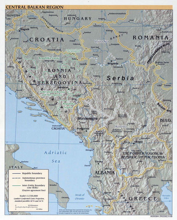Large political map of Central Balkan Region with relief and major cities - 1999.