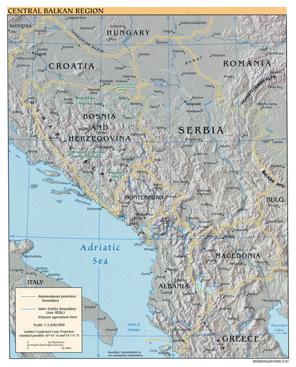 Large political map of Central Balkan Region with relief and major cities - 2007.
