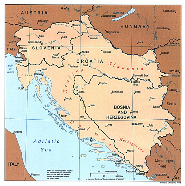 Large political map of Western Balkans with major cities - 1997.
