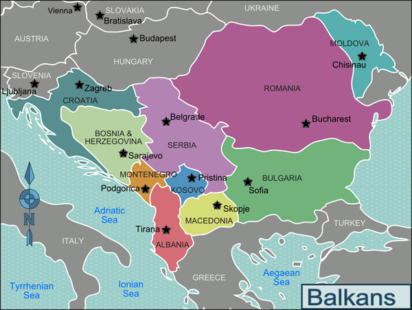 Large regions map of Balkans. Balkans large regions map.