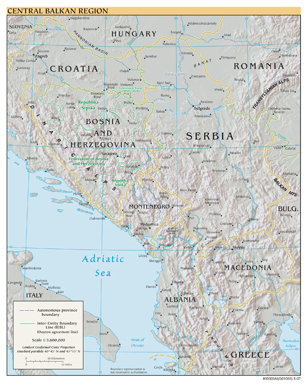 Central Balkan Region large scale political map with relief and major cities - 2007.