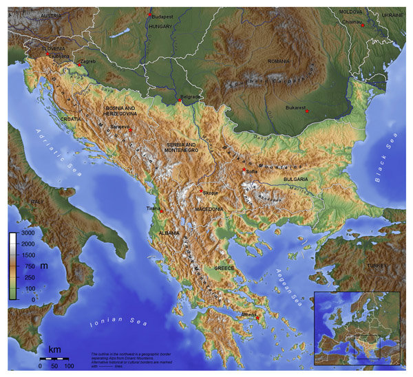 Balkans large topographical map. Large topographical map of Balkans.
