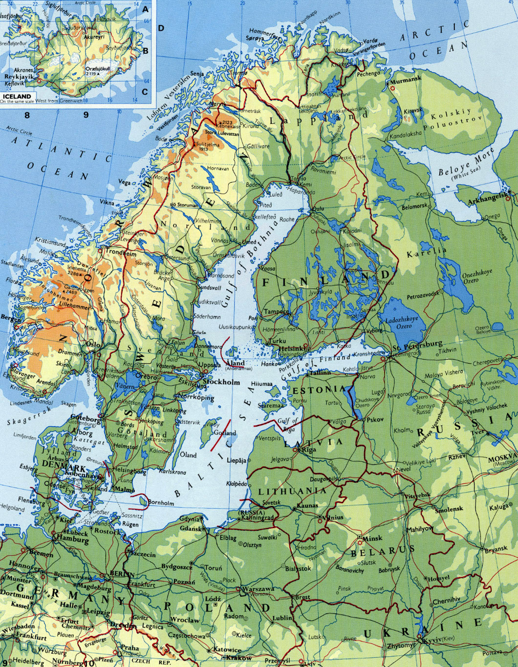 Detailed elevation map of Scandinavia Vidianicom Maps of all