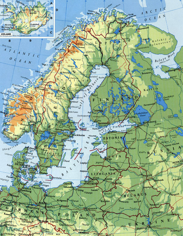 Detailed elevation map of Scandinavia.