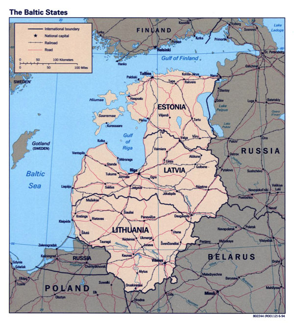 Detailed political map of the Baltic States - 1994.