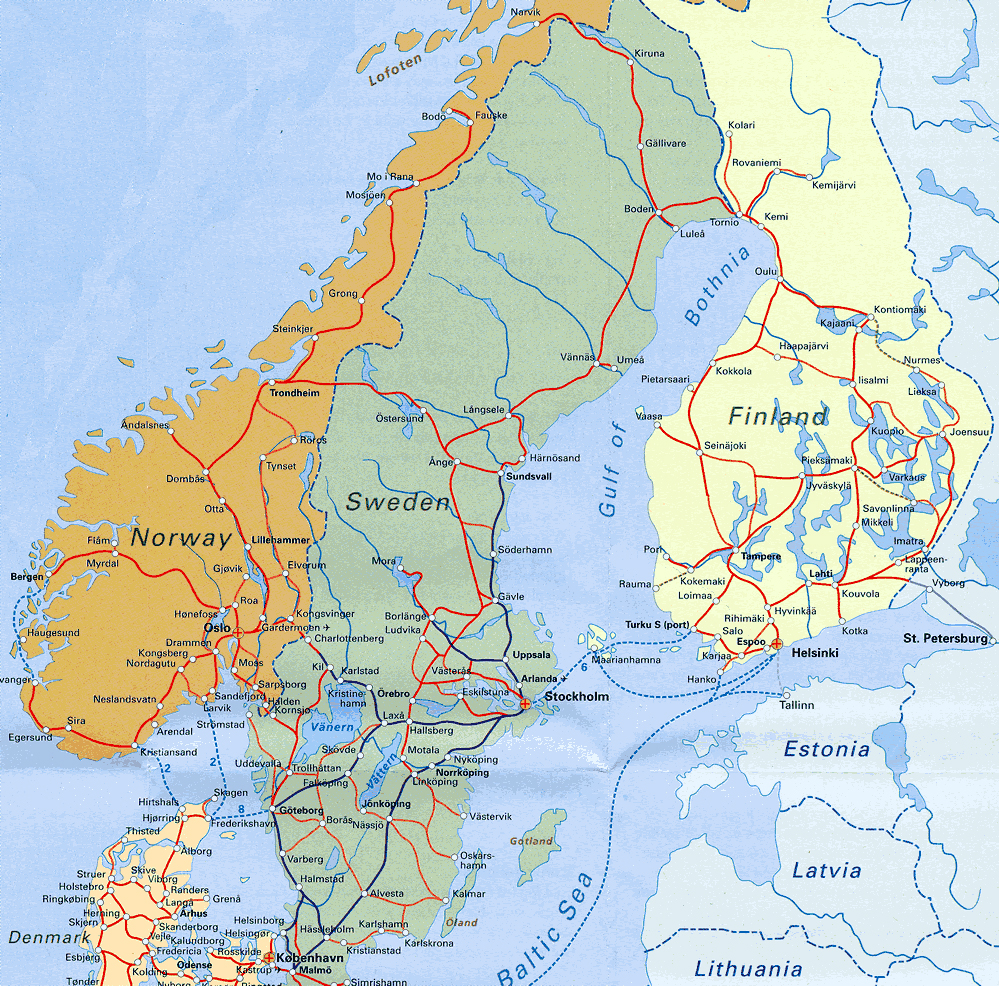 Detailed Railways Map Of Scandinavia Vidianicom Maps Of All - Europe map scandinavia