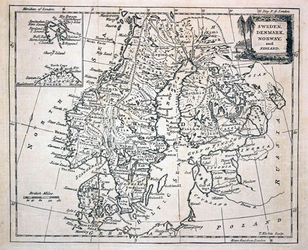 Large detailed old map of Scandinavia - 1780.