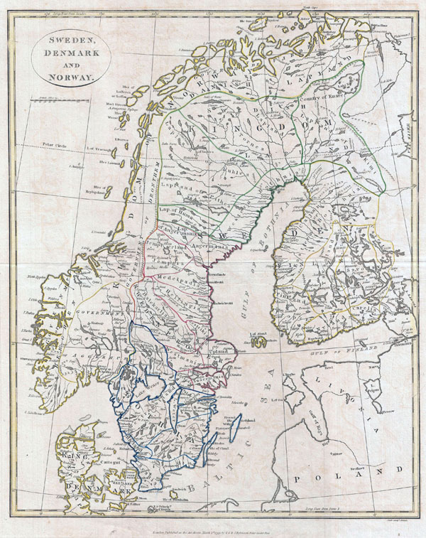 Large detailed old map of Scandinavia - 1799.