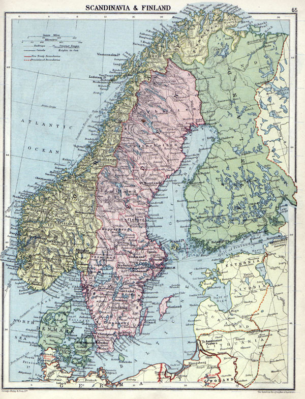 Large detailed old political map of Scandinavia with relief - 1920.
