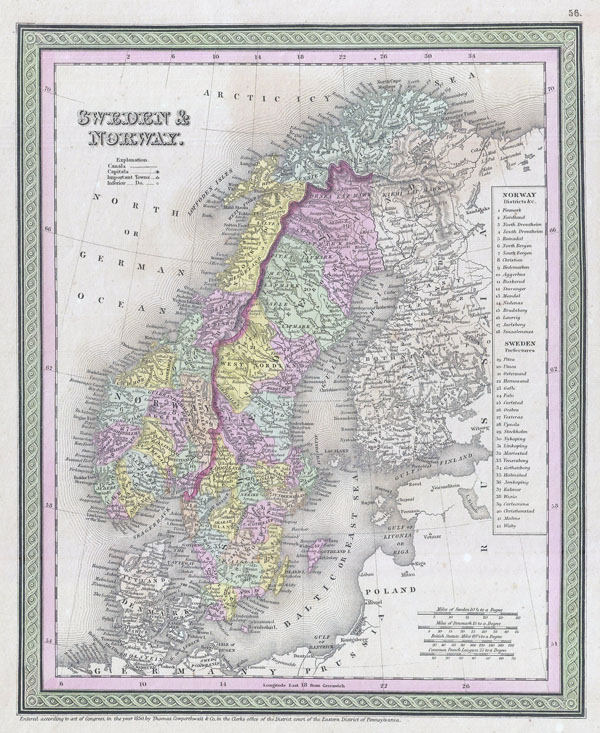 Large detailed old political map of Sweden and Norway - 1850.