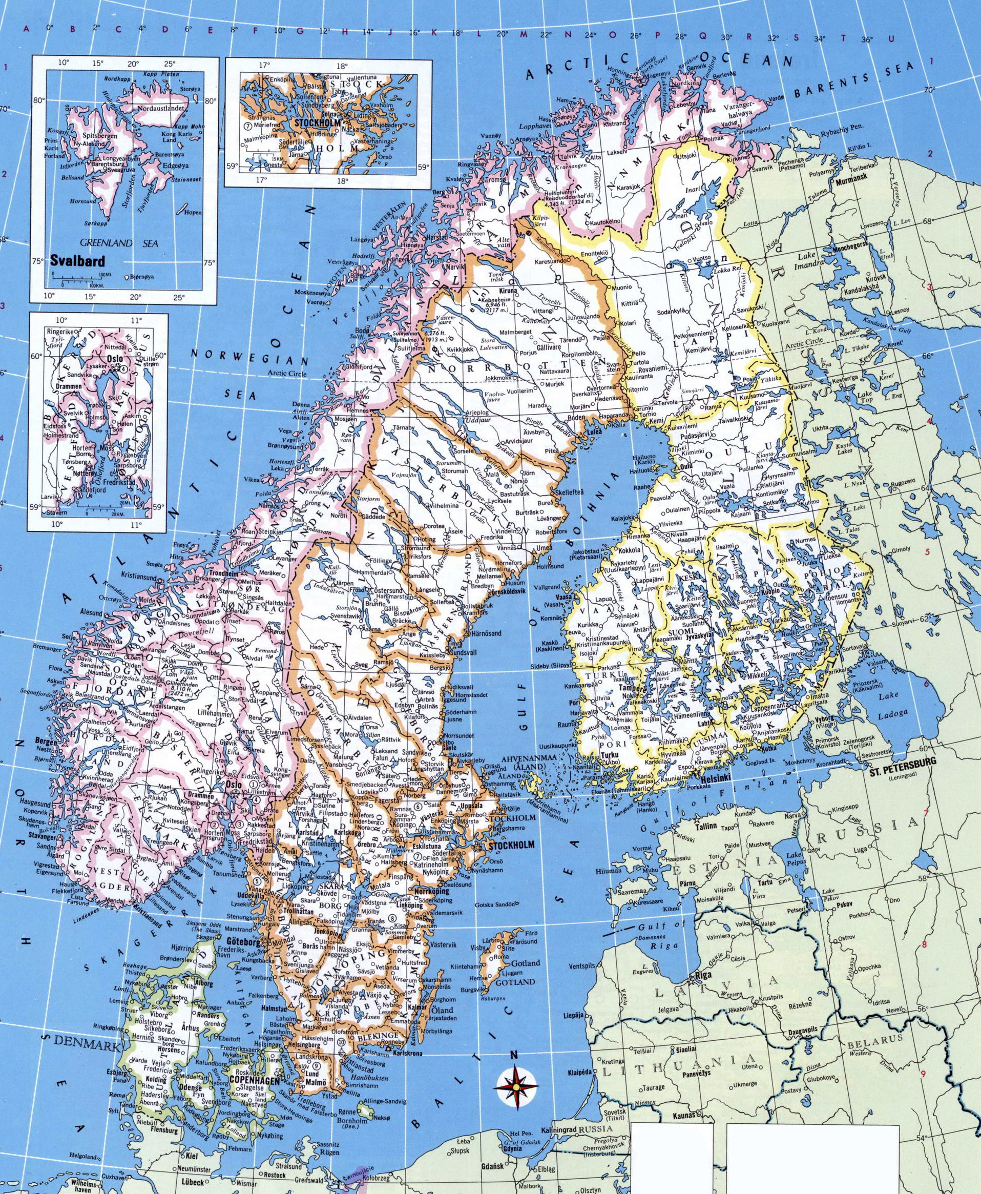Large detailed political map of Norway Sweden Finland and Denmark