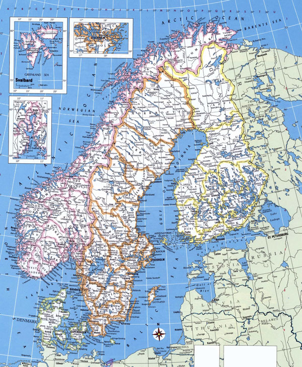 Large detailed political map of Norway, Sweden, Finland and Denmark.