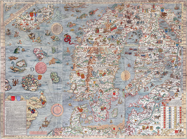Large old illustrated map of Scandinavia.