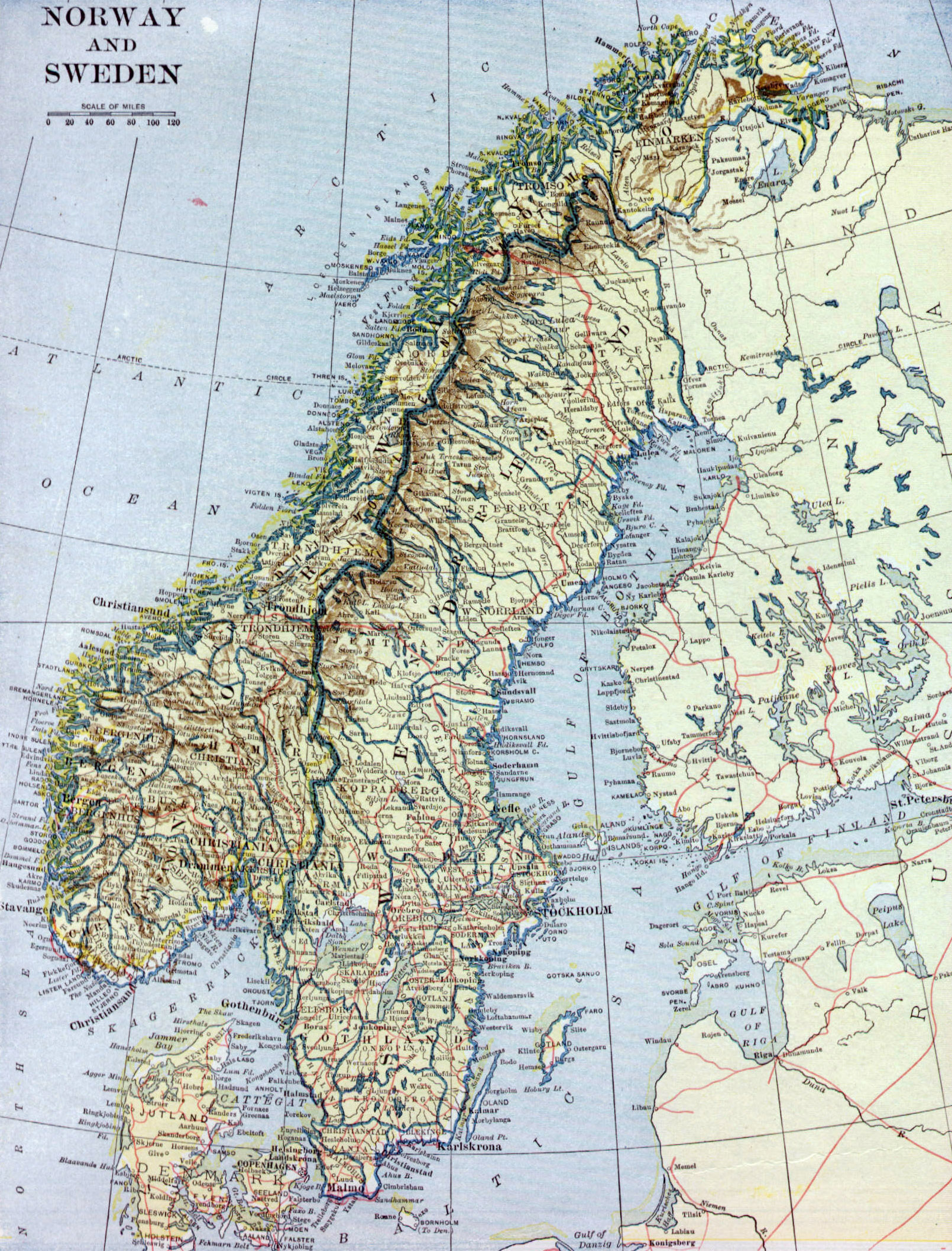 Large Old Map Of Norway And Sweden With Relief Roads And Cities - Norway map cities