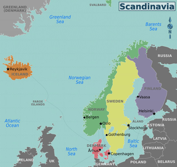 Large regions map of Scandinavia.