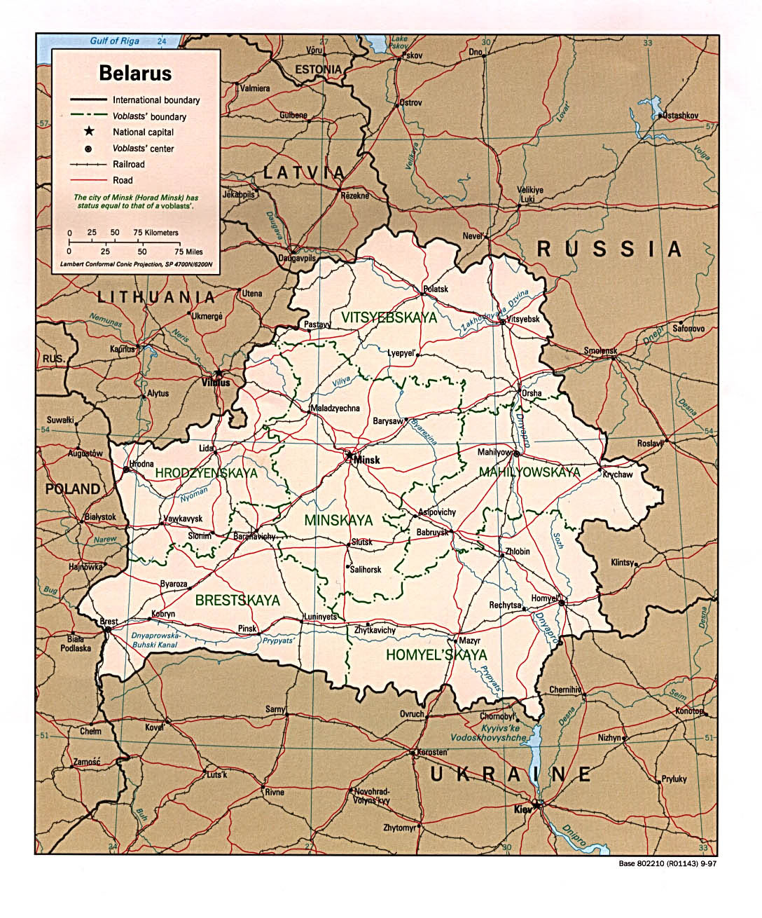 Map of belarus. full belarus administrative and political map