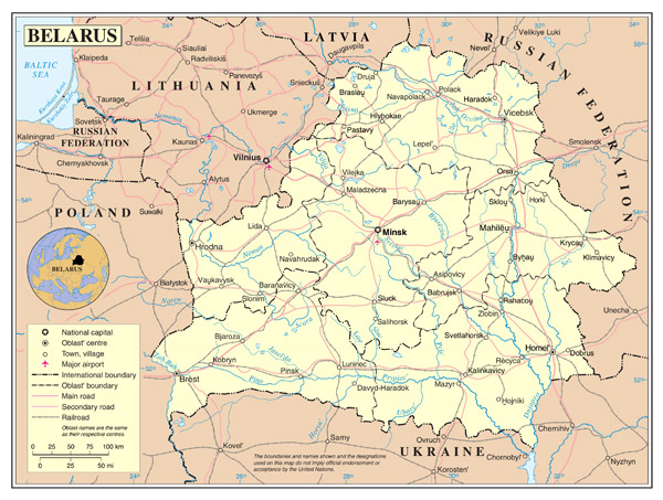 Large detailed political and administrative map of Belarus with roads, cities and airports.