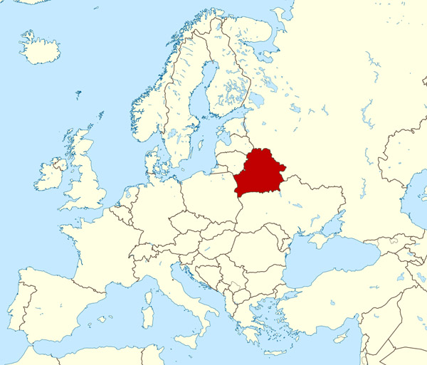 Large location map of Belarus in Europe. Where is located Belarus on the map?