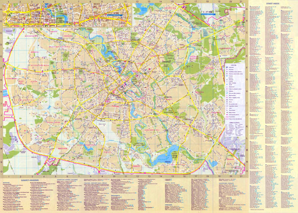 Large detailed road and tourist map of Minsk city in english.