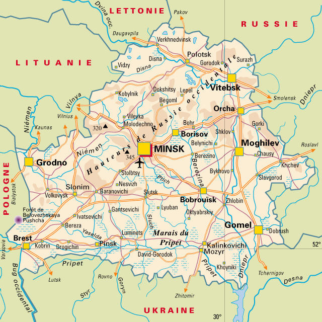 Road Map Of Belarus With Cities And Airports Belarus Road Map With