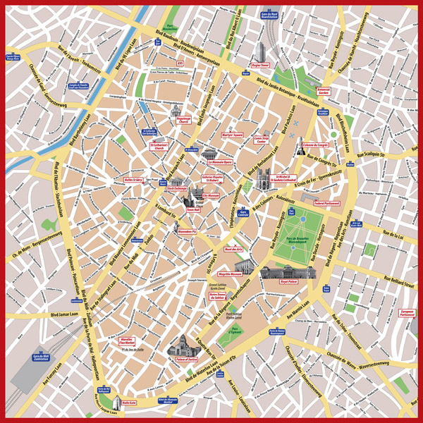 Detailed tourist map of central part of Brussels city.