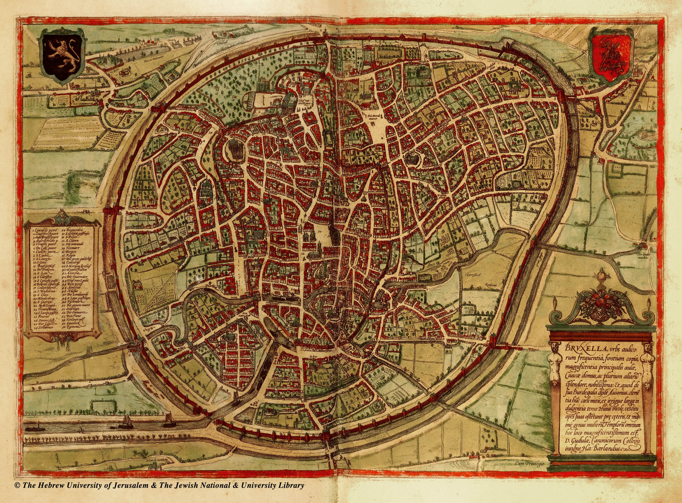 Large detailed medieval map of Brussels city Brussels city large