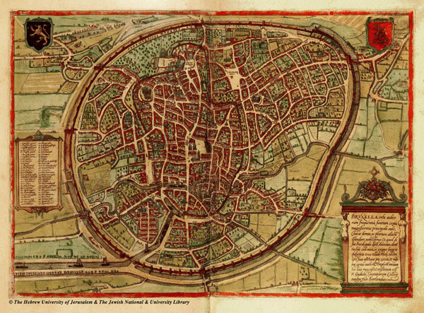 Large detailed medieval map of Brussels city.