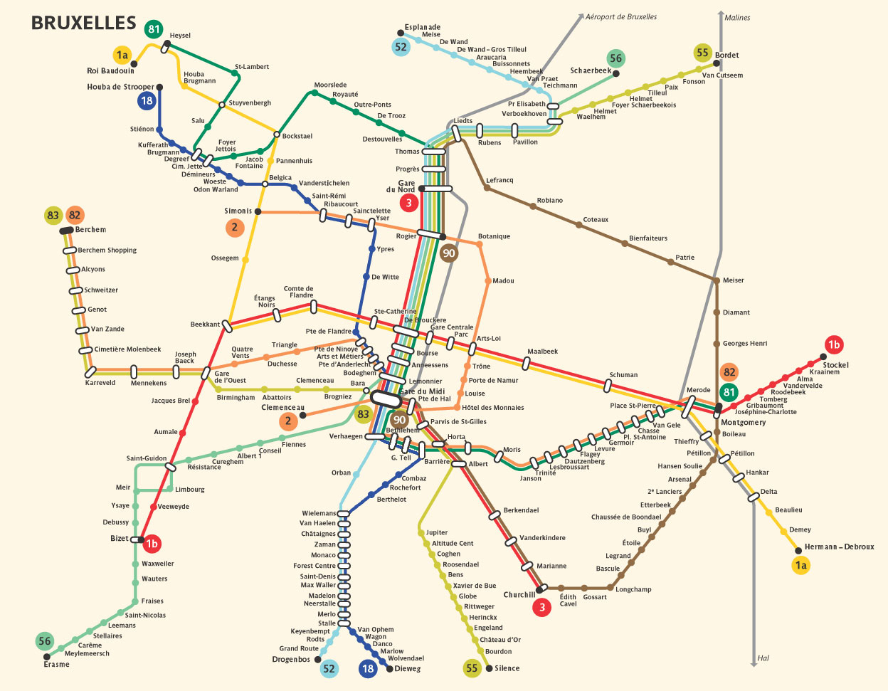 Large detailed metro map of Brussels city Brussels city large